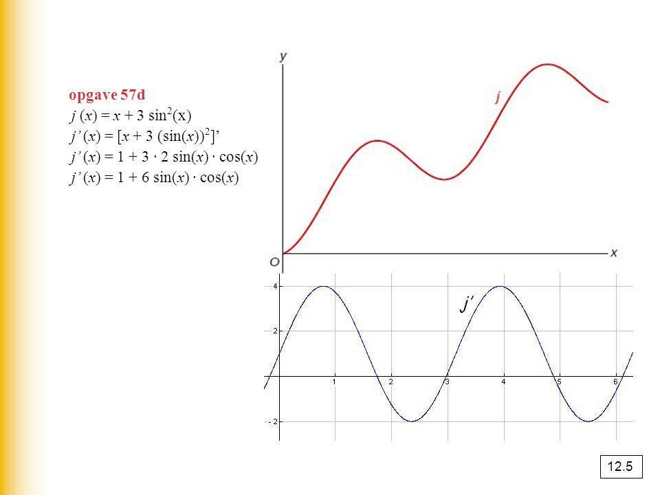 j' opgave 57d j (x) = x + 3 sin2(x) j' (x) = [x + 3 (sin(x))2]'